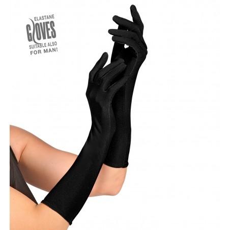 Hosszú fekete elasztikus kesztyű, szatén hatású
