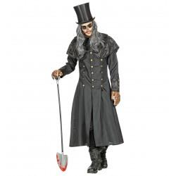 Gótikus fekete köpeny gallérral Halloween jelmez
