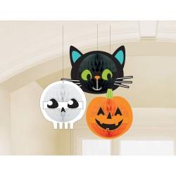 Szellem, tök, cica Halloween lampion