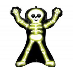 Neon csontvázas fólia lufi Halloweenre