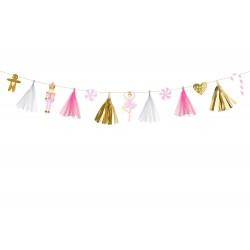 Girland mix karácsonyi motívumokkal, arany, pink és fehér színben