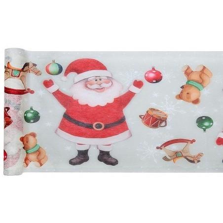 Karácsonyi asztali futó Mikulás mintával