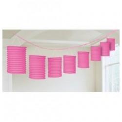 Rózsaszín Lampionfüzér Függő Dekoráció - 3,6 m