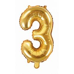 3-as Arany szám fólia lufi