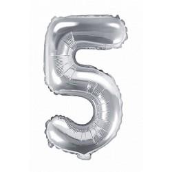 5-ös Ezüst szám fólia lufi