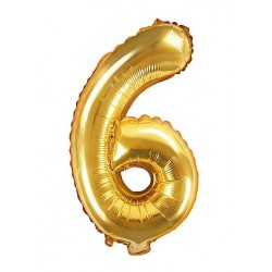 6-os Arany szám fólia lufi