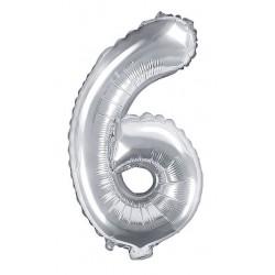 6-os Ezüst szám fólia lufi