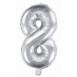 8-as Ezüst szám fólia lufi