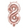 8-as Rosegold szám fólia lufi