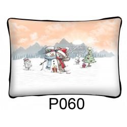 KarácsonyiPárnaMaci és Hóember mintával