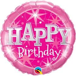 18 inch-es Birthday Pink Sparkle Szülinapi Fólia Lufi
