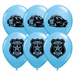 Rendőr - Police Parti Világoskék Gumi Lufi