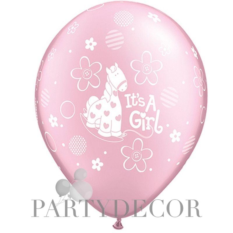 It is a Girl Feliratos Rózsaszín Gyöngyház Gumi Lufi Babaszületésre