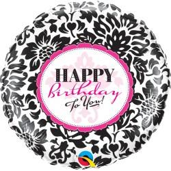 18 inch-es Birthday Elegant Damask Szülinapi Héliumos Fólia Lufi