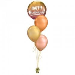 Születésnapi héliumos luficsokor rózsaarany- arany színben