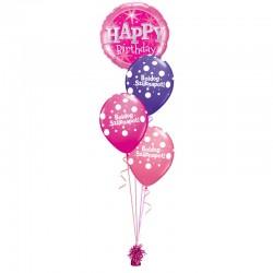 Születésnapi héliumos luficsokor lányos pink-lila