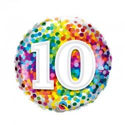 10-es Számos Szülinapi Héliumos Fólia Lufi