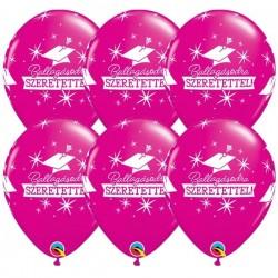 Rózsaszín ballagási latex lufi - Ballagásodra Szeretettel! felirattal