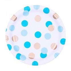 Papír tányér - arany-kék pöttyös