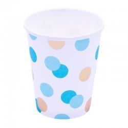 Papír pohár - arany-kék pöttyös