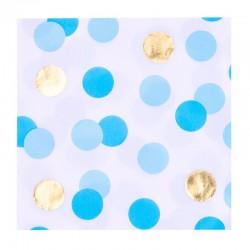 Papír szalvéta - arany-kék pöttyös