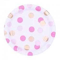 Papír tányér - arany-rózsaszín pöttyös