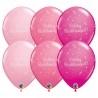 Rózsaszín szülinapi latex lufi Boldog Születésnapot! felirattal (6db)