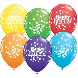 Színes szülinapi latex lufi - Happy Birthday! felirattal - konfetti mintás