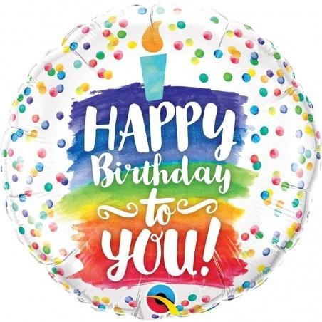 Szülinapi héliumos fólia lufi szivárvány pöttyös mintával - Happy Birthday to You! felirattal