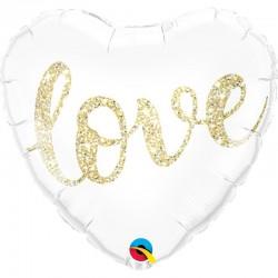 Szív alakú héliumos fólia lufi arany glitteres LOVE felirattal