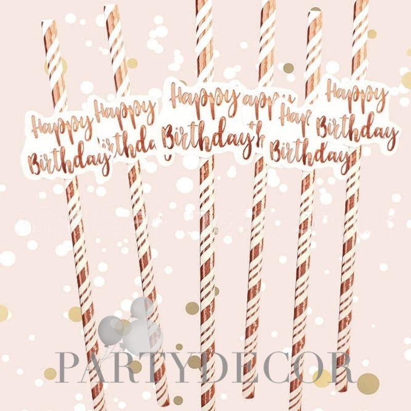 Szülinapi papír szívószál Happy Birthday dísszel - rosegold-fehér csíkos