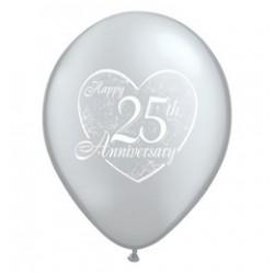 11 inch-es Happy 25th Anniversary Heart Silver Lufi Évfordulóra (5 db/csomag)