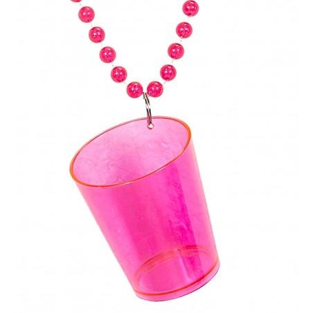 Nyakba akasztható feles pohár - neon pink