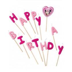 Minnie egér szülinapi gyertya - Happy Birthday - rózsaszín