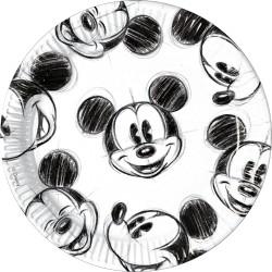 Mickey egér papír tányér - fekete-fehér
