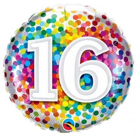 16-os számos szülinapi héliumos fólia lufi színes konfetti mintával