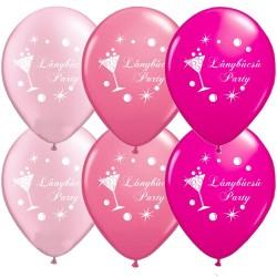 Pink-rózsaszín lánybúcsú latex lufi - Lánybúcsú Party felirattal, koktélpohár mintával (6 db)
