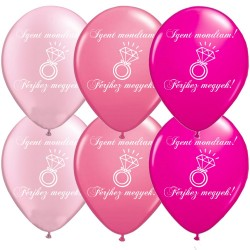 Pink-rózsaszín lánybúcsú latex lufi - Igent mondtam! - gyémántgyűrűs (6 db)