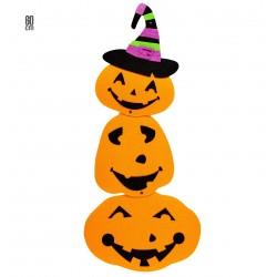 Halloween tök dekoráció boszorkánykalappal