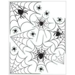 Halloween ablak dekoráció - pók és pókháló mintás ablakmatrica