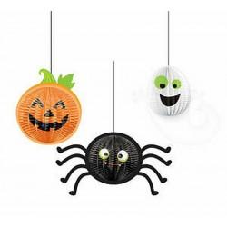Halloween függő dekoráció - bájos halloween tök, szellem és pók (3 db-os)