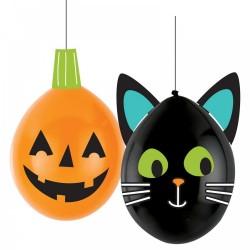 DIY halloween lufi dekoráció szett - cica és halloween tök