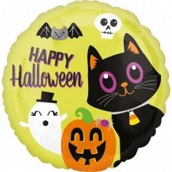 Héliumos halloween lufi cica, halloween tök és szellem mintával