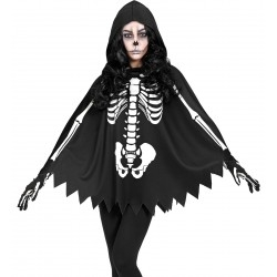 Csontváz poncsó kapucnival csontváz jelmezhez