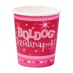 Rózsaszín szülinapi party pohár Boldog Szülinapot! felirattal