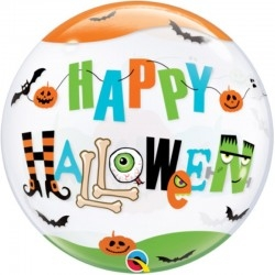 Héliumos halloween lufi ikonikus halloween mintákkal, Happy Halloween felirattal