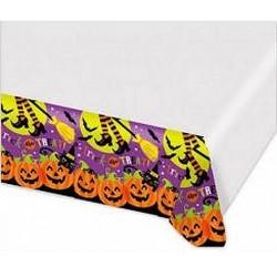 Halloween asztalterítő boszi, denevér és tök mintával