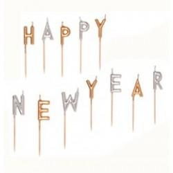 Happy New Year Felirat Szilveszteri Gyertya Szett