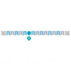 Mókás macis szülinapi dekorációs Happy Birthday füzér