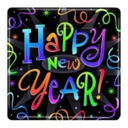 Szilveszteri Happy New Year Feliratos Parti Tányér - 17,8 cm, 8 db-os